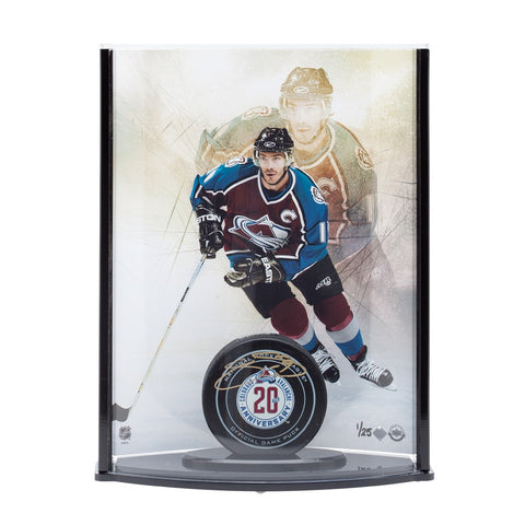 Joe Sakic Autographed 20th Anniversary Avalanche Puck with Captain Picture Curve Display