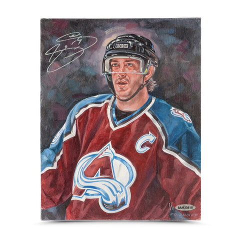 Joe Sakic Autographed Colorado Avalanche Original Card Art