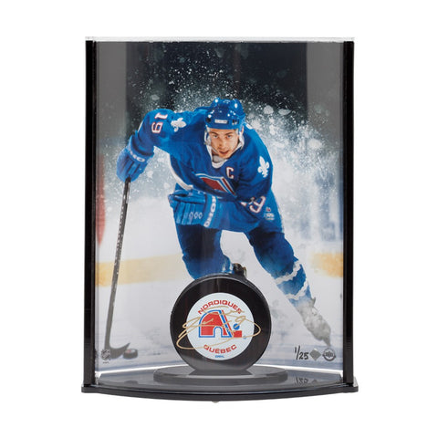Joe Sakic Autographed Quebec Nordiques Puck with Nordiques Picture Curve Display