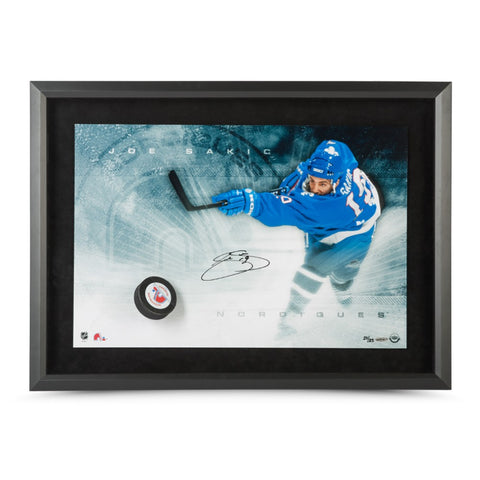 Joe Sakic Autographed Quebec Slap Shot Breaking Through
