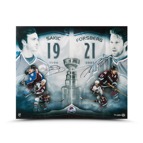 "Joe Sakic & Peter Forsberg Autographed ""2X Champs"" 20 x 24 Photo"