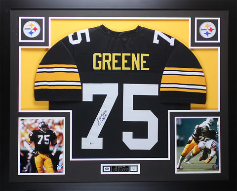 Joe Greene Autographed HOF 87 and Framed Black Steelers Jersey Beckett COA D3