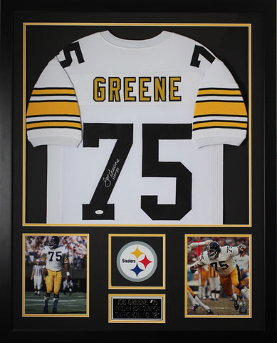 Joe Greene Autographed HOF 87 and Framed White Steelers Jersey JSA COA (Vert)