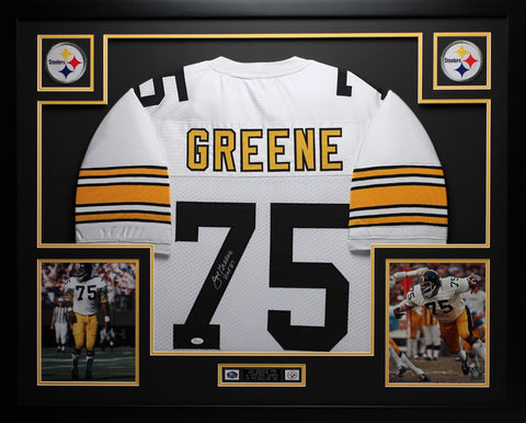 Joe Greene Autographed HOF 87 and Framed White Steelers Jersey Auto JSA Certified