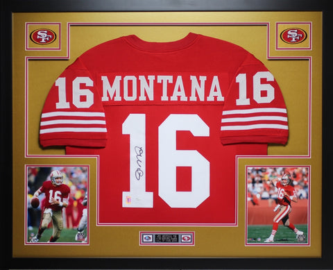 Joe Montana Autographed and Framed Red 49ers Jersey Auto JSA Certified