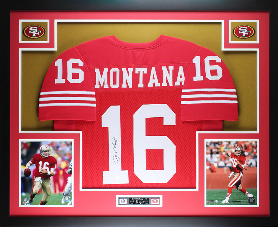 official photos 71dda 10ba0 Joe Montana Autographed & Framed Red 49ers Jersey Auto JSA Cert