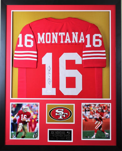 Joe Montana Autographed and Framed Red 49ers Jersey Auto JSA COA (Vert)