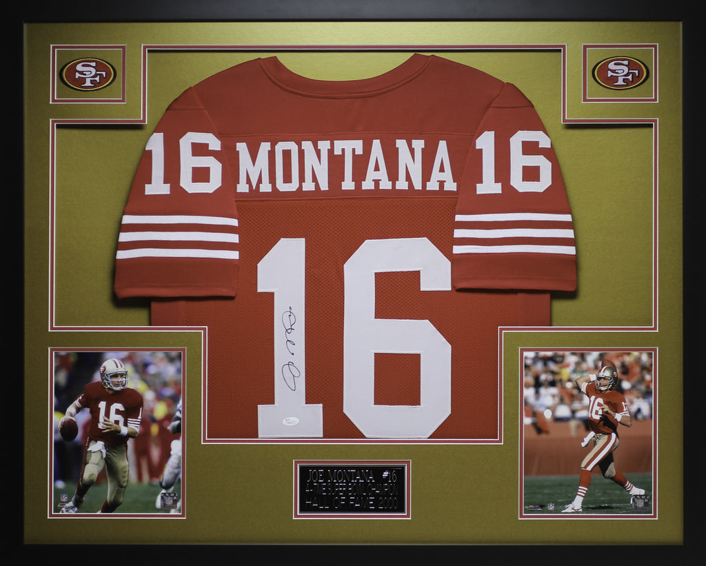 separation shoes 9fcf9 e3510 Joe Montana Autographed and Framed Red 49ers Jersey JSA COA