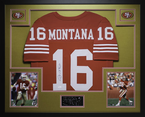 Joe Montana Autographed and Framed Red 49ers Jersey JSA COA