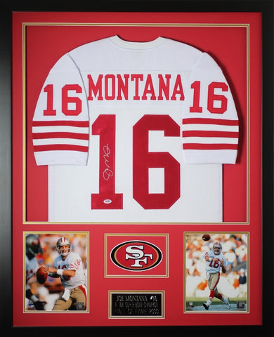 Joe Montana Autographed and Framed White 49ers Jersey Auto PSA COA (D2-V)