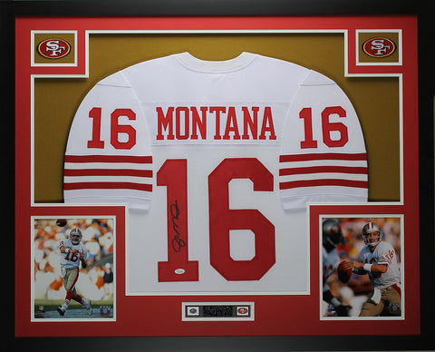 Joe Montana Autographed and Framed White 49ers Jersey JSA COA D11-L