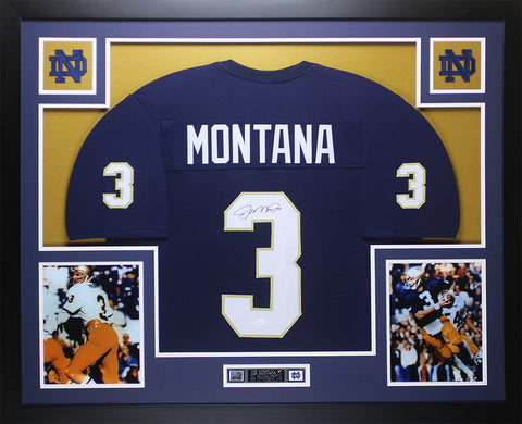 Joe Montana Autographed and Framed Blue Notre Dame Jersey JSA COA (D1-L)