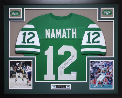 Joe Namath Autographed #12 and Framed Green Jets Jersey Auto JSA Certified
