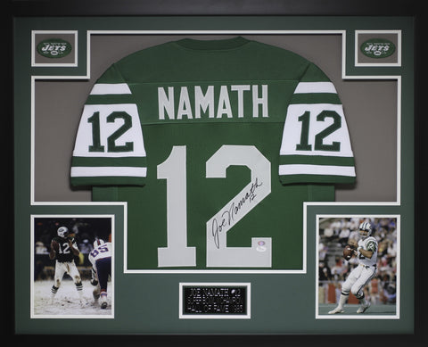 Joe Namath Autographed #12 and Framed Green Jets Jersey Auto JSA COA