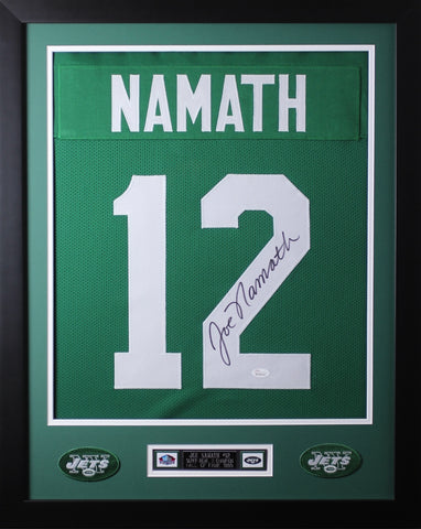 "Joe Namath Framed and Autographed Green Jets Jersey Auto JSA COA (24""x30"")"