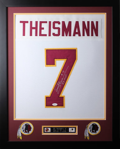 Joe Theismann Framed and Autographed White Redskins Jersey JSA COA D2-S