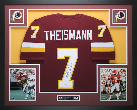 Joe Theismann Autographed 83 MVP and Framed Maroon Redskins Jersey JSA Certified