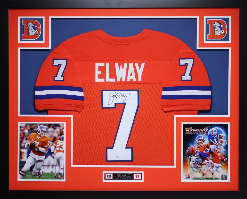 san francisco c27c3 cf148 John Elway Autographed and Framed Orange Crush Broncos Jersey Auto JSA COA