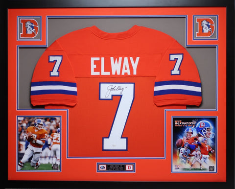 John Elway Autographed and Framed Orange Crush Broncos Jersey Auto JSA Certified