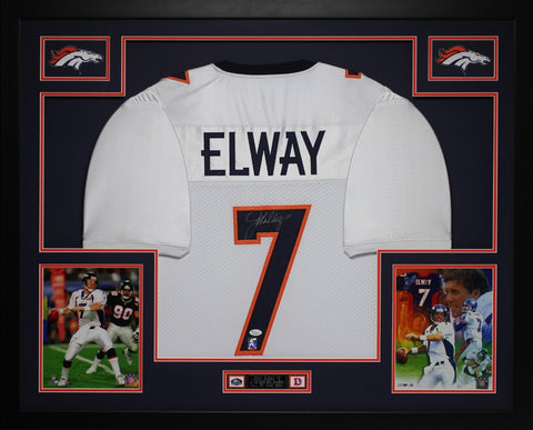John Elway Autographed Signed and Framed White Broncos Jersey Auto JSA Certified