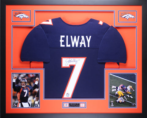 John Elway Autographed Signed and Framed Blue Broncos Jersey Auto JSA Certified