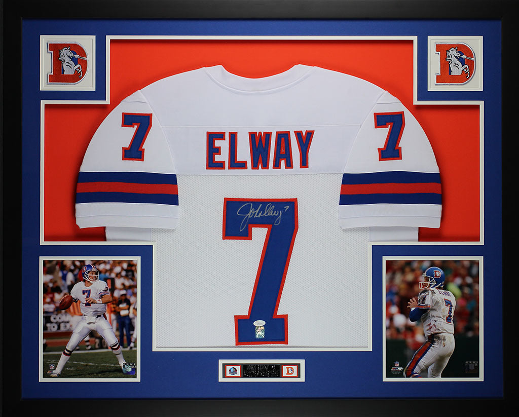 quality design be019 be2c0 John Elway Autographed and Framed White Broncos Jersey Auto JSA Certified  (L-1)