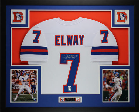 John Elway Autographed and Framed White Broncos Jersey Auto JSA Certified (L-1)