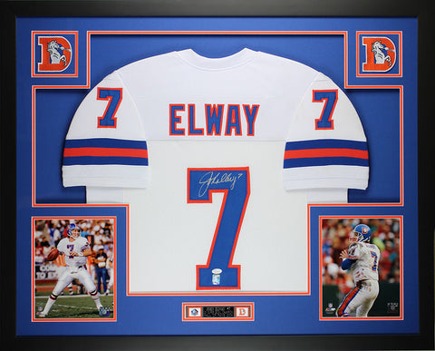John Elway Autographed and Framed White Broncos Jersey Auto JSA Certified (L-2)