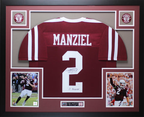 Johnny Manziel Autographed and Framed Maroon Aggies Jersey Auto JSA COA (D2-L)