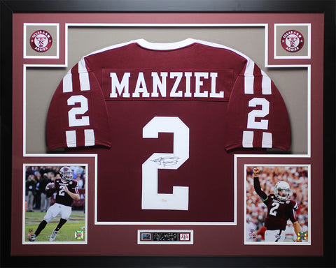 Johnny Manziel Autographed and Framed Maroon Aggies Jersey Auto JSA COA D4-L