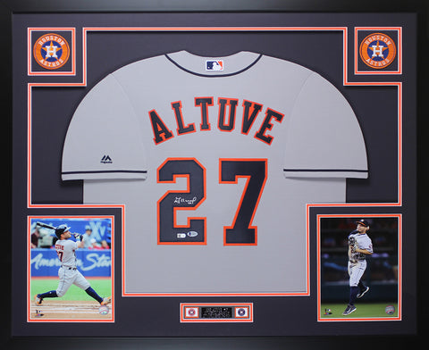 Jose Altuve Autographed & Framed Gray Houston Astros Auto Beckett COA D6-L