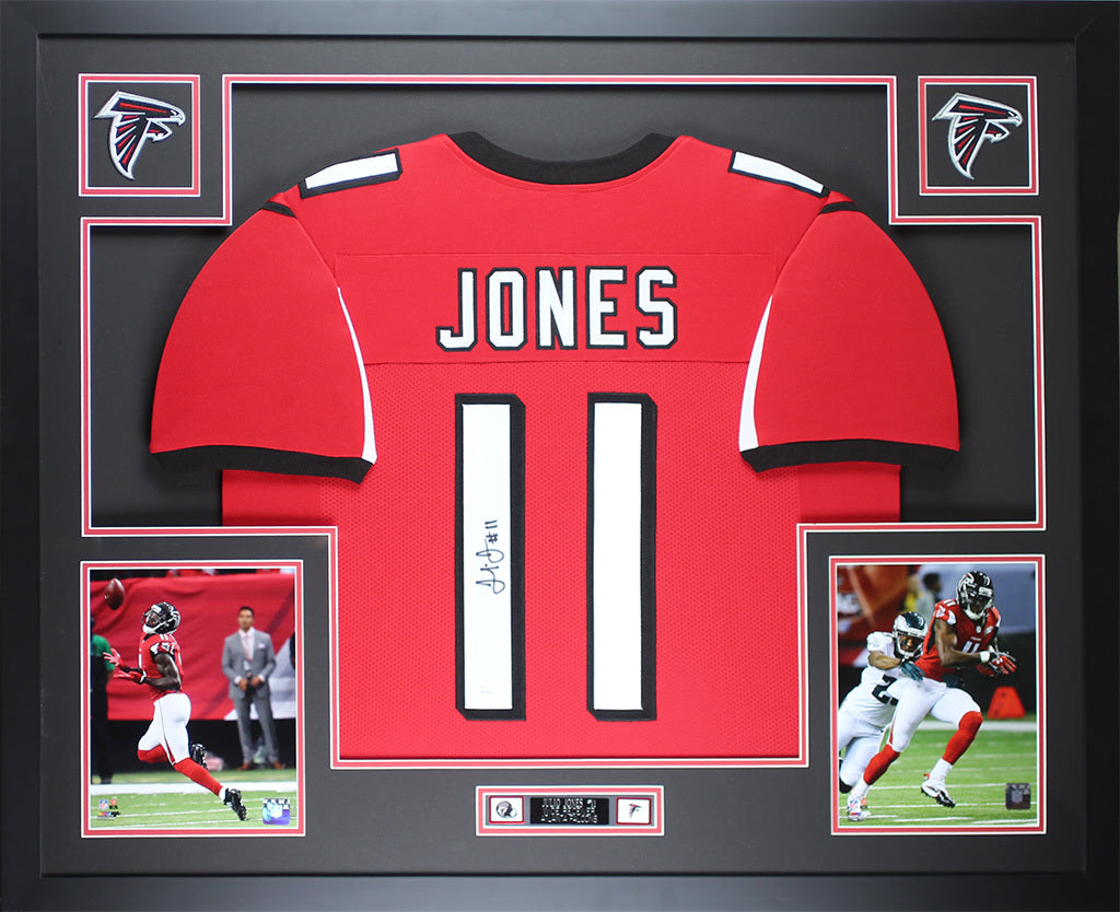 900b7e5220d Julio Jones Autographed   Framed Red Falcons Jersey Auto JSA COA D2-L –  Super Sports Center
