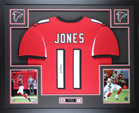Julio Jones Autographed & Framed Red Falcons Jersey Auto JSA COA D2-L
