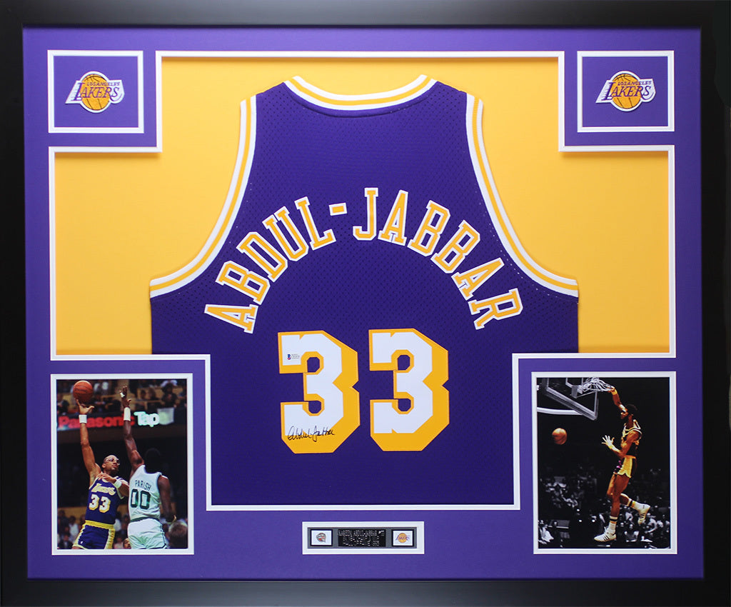 adbb6626064 Kareem Abdul-Jabbar Autographed   Framed Purple Lakers Jersey Auto Bec –  Super Sports Center