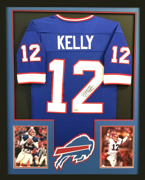"Jim Kelly Signed Framed Buffalo Bills Blue Custom Jersey with ""HOF 02"" Inscription"