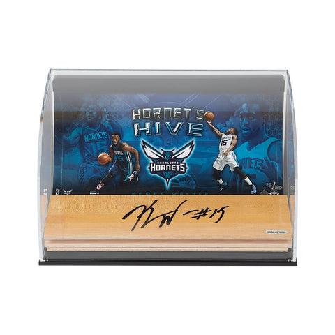 Kemba Walker Hornet's Hive Photo with Autographed NBA Game-Used Floor Curve Display