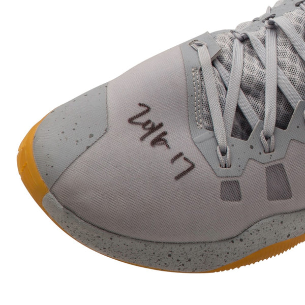 best service c8279 128c8 ... usa kevin love autographed inscribed 2016 17 nike hyperdunk gray yellow  swoosh game 669f7 d3fe0