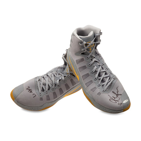 Kevin Love Autographed & Inscribed 2016-17 Nike Hyperdunk Gray/Yellow Swoosh Game-Worn Shoes