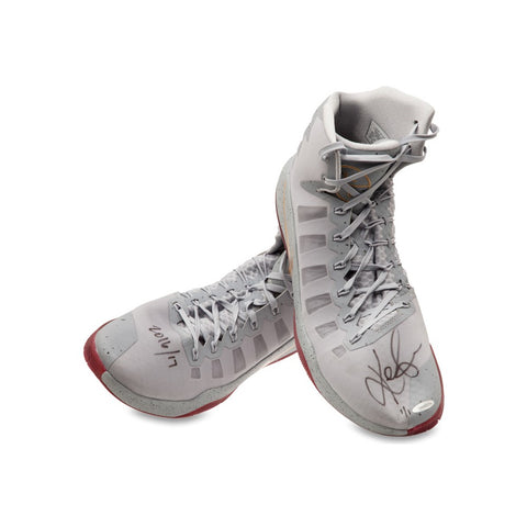 Kevin Love Autographed & Inscribed 2016-17 Nike Hyperdunk Gray/Gold Swoosh Game-Worn Shoes