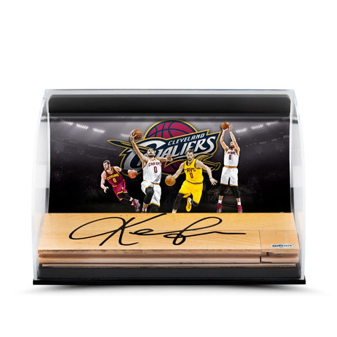 Kevin Love Loveland Photo with Autographed NBA Game-Used Floor Curve Display