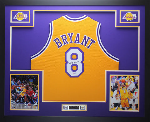 Kobe Bryant Autographed and Framed Gold Lakers #8 Jersey Auto PSA COA D14-L