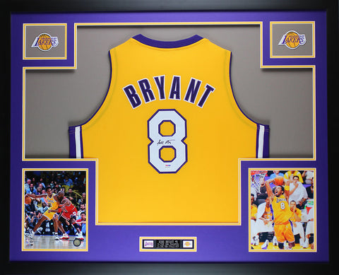 Kobe Bryant Autographed and Framed Gold Lakers #8 Jersey Auto PSA COA (D1-L)