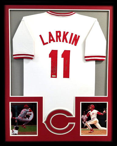 "Barry Larkin Signed Framed Cincinnati Reds White Custom Jersey with ""HOF 2012"" Inscription"