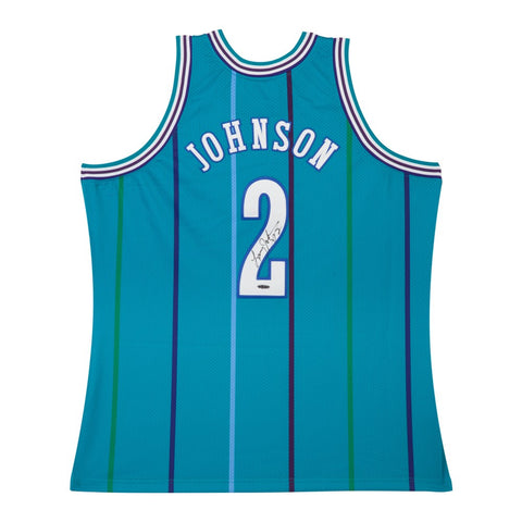 Larry Johnson Autographed Authentic Mitchell & Ness Hornets Home Jersey
