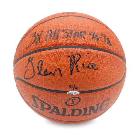Glen Rice Signed & Inscribed Spalding Indoor/Outdoor Basketball