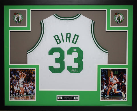 Larry Bird Autographed and Framed White Celtics Jersey Auto PSA (D6-L)