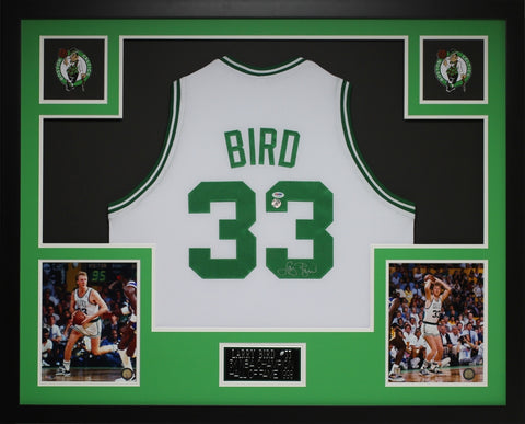 Larry Bird Autographed and Framed White Celtics Jersey Auto PSA COA (D1-L)