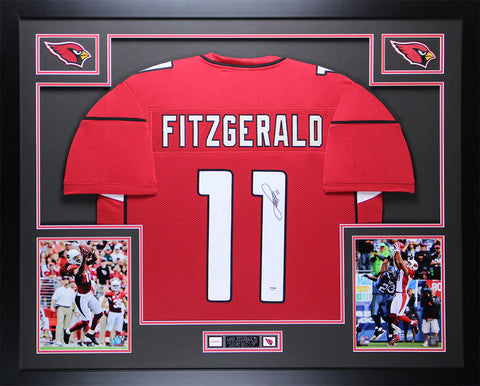 Larry Fitzgerald Autographed & Framed Red Cardinals Jersey Auto PSA COA D3-L