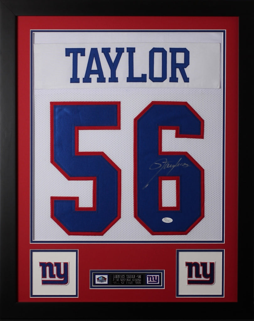 premium selection fa5fa 10a32 Lawrence Taylor Framed and Autographed White Giants Jersey JSA COA D2-S
