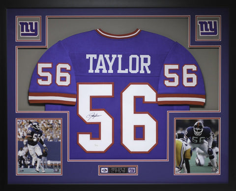 8b5570ccf Lawrence Taylor Autographed and Framed Blue Giants Jersey Auto JSA Certified